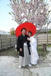 翔君 ゆほちゃん 桜の木 番傘
